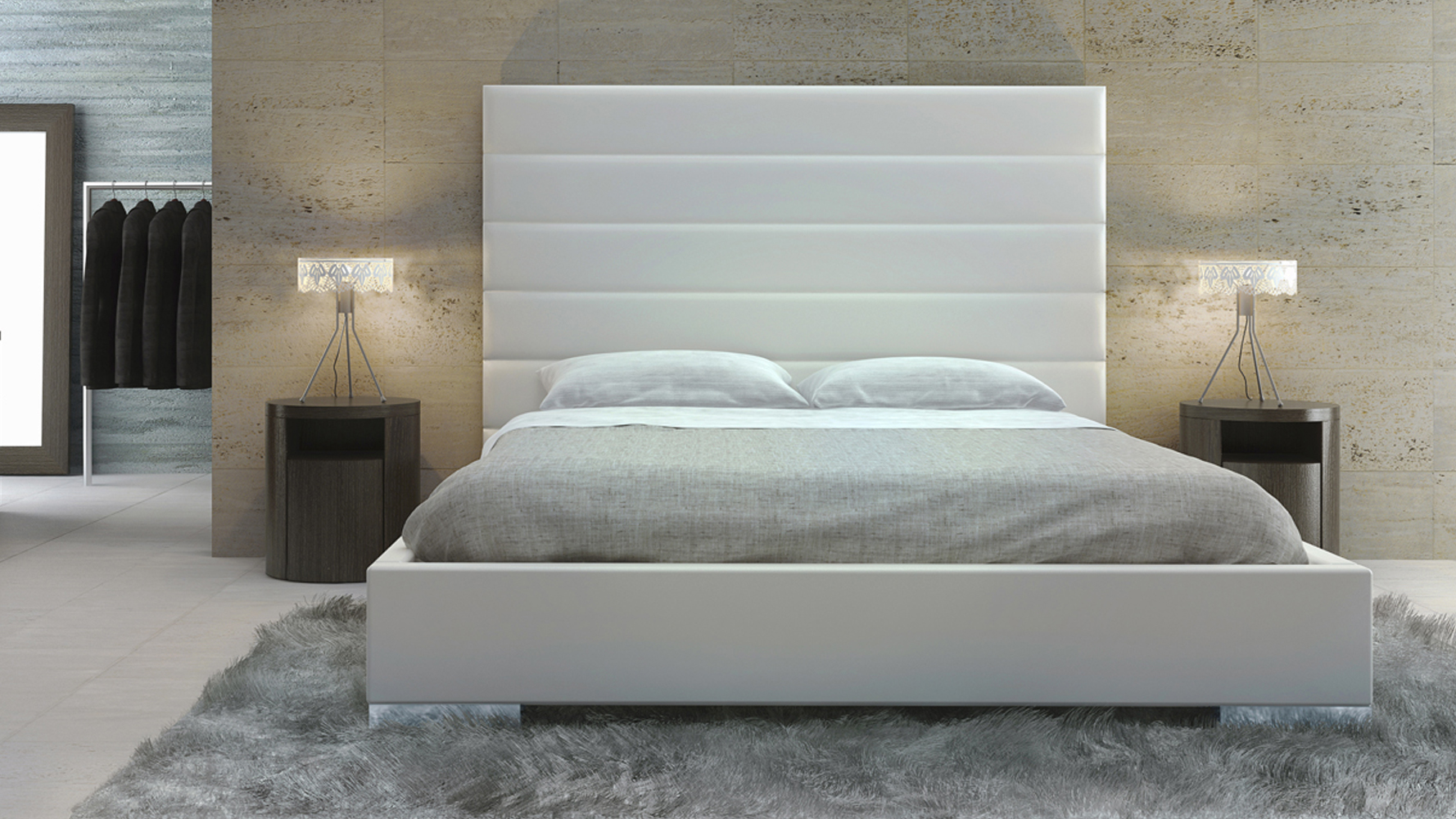 reina white panel tufted leatherette platform bed zuri furniture. Black Bedroom Furniture Sets. Home Design Ideas