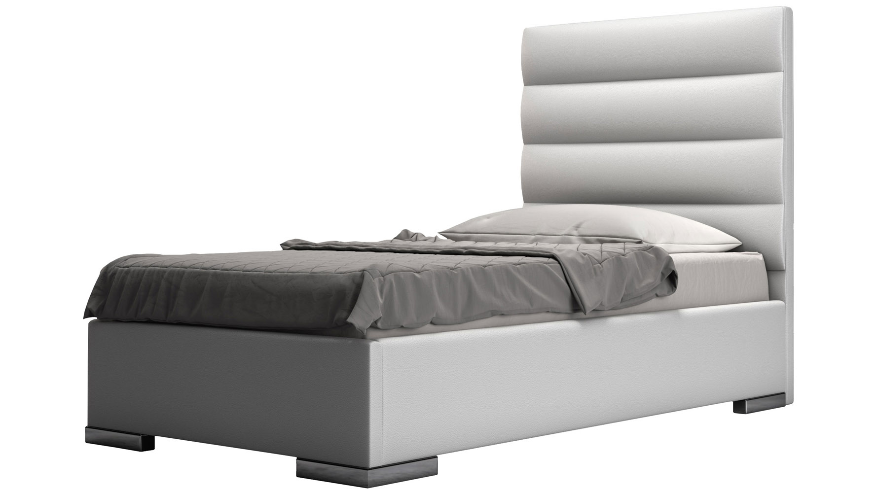 White Panel Tufted Leather Reina Platform Bed | Zuri Furniture