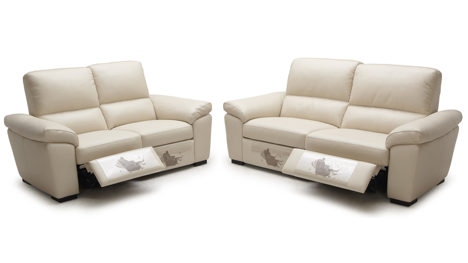 Beige Windsor Reclining Leather Sofa Set With Loveseat And
