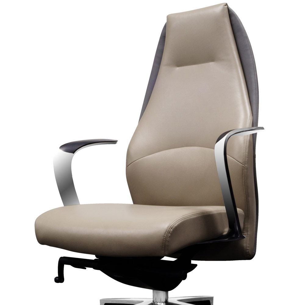 wrigley genuine leather aluminum base high back executive chair