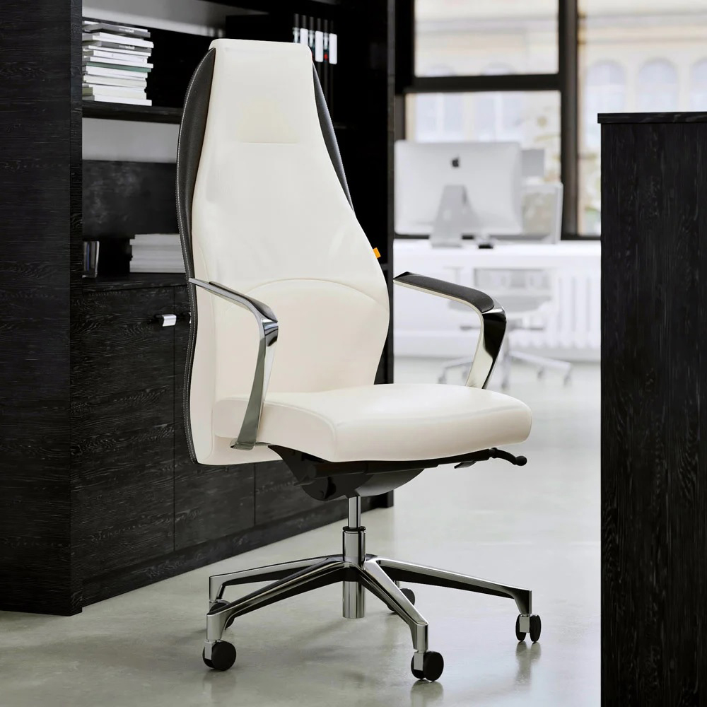 Astounding Wrigley Leather Executive Chair White Leather With Black Accent Cjindustries Chair Design For Home Cjindustriesco