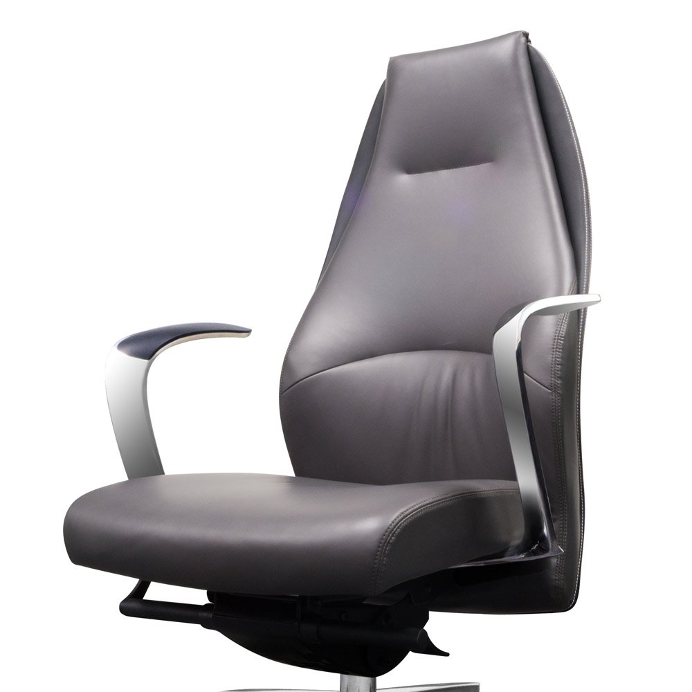 Wrigley Genuine Leather Aluminum Base High Back Executive Chair Dark Grey With Black Accent Zuri Furniture