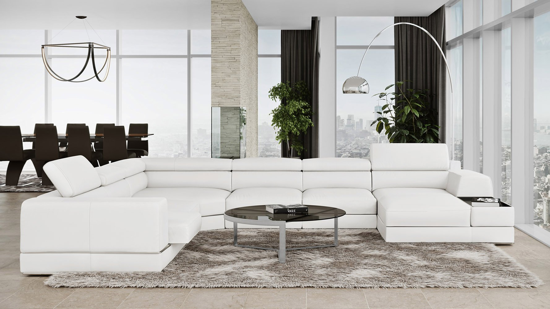 - Wynn White Leather Sectional Sofa With Adjustable Headrests Zuri Furniture