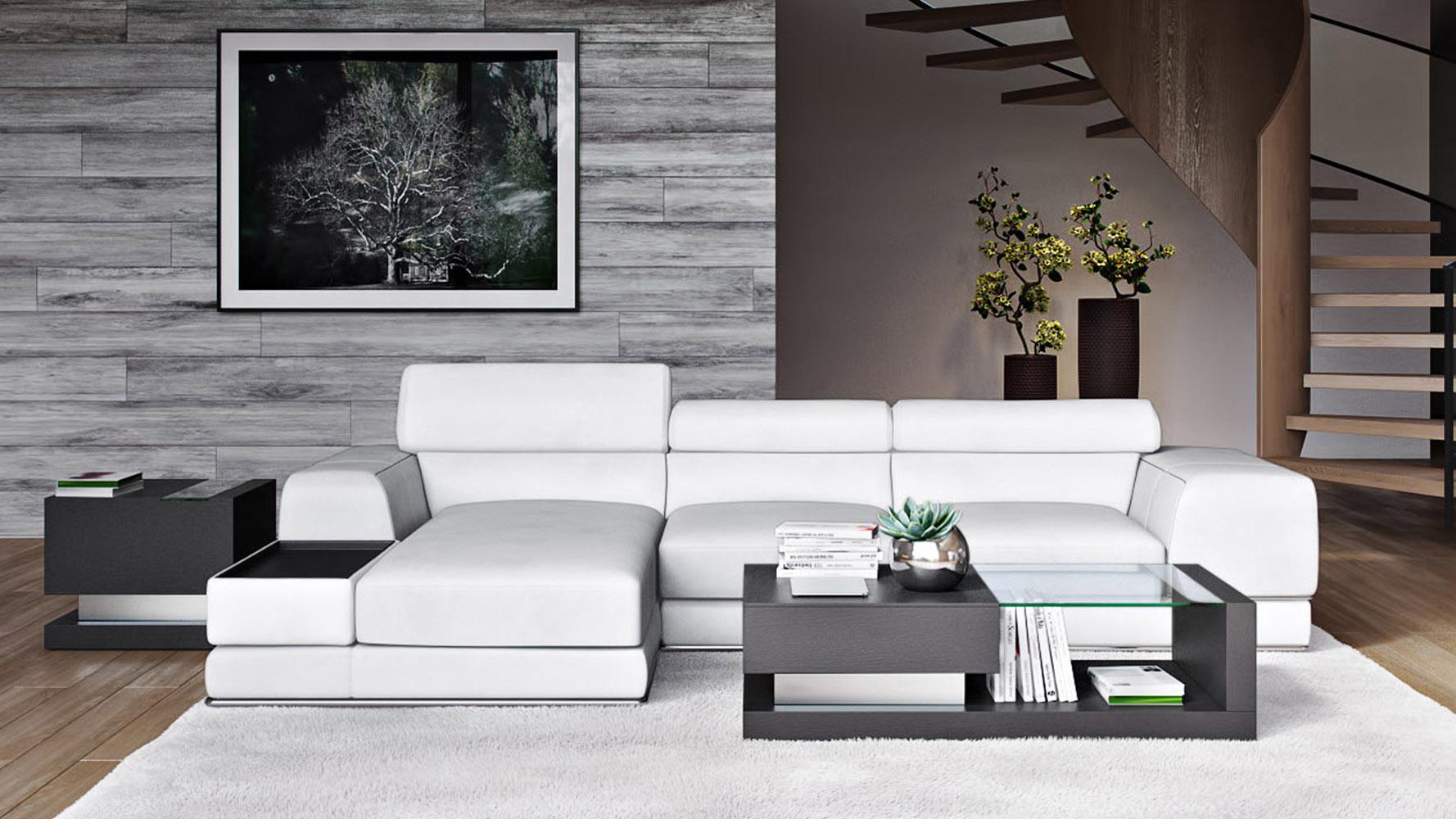 Encore White Leather Sectional Sofa Zuri Furniture
