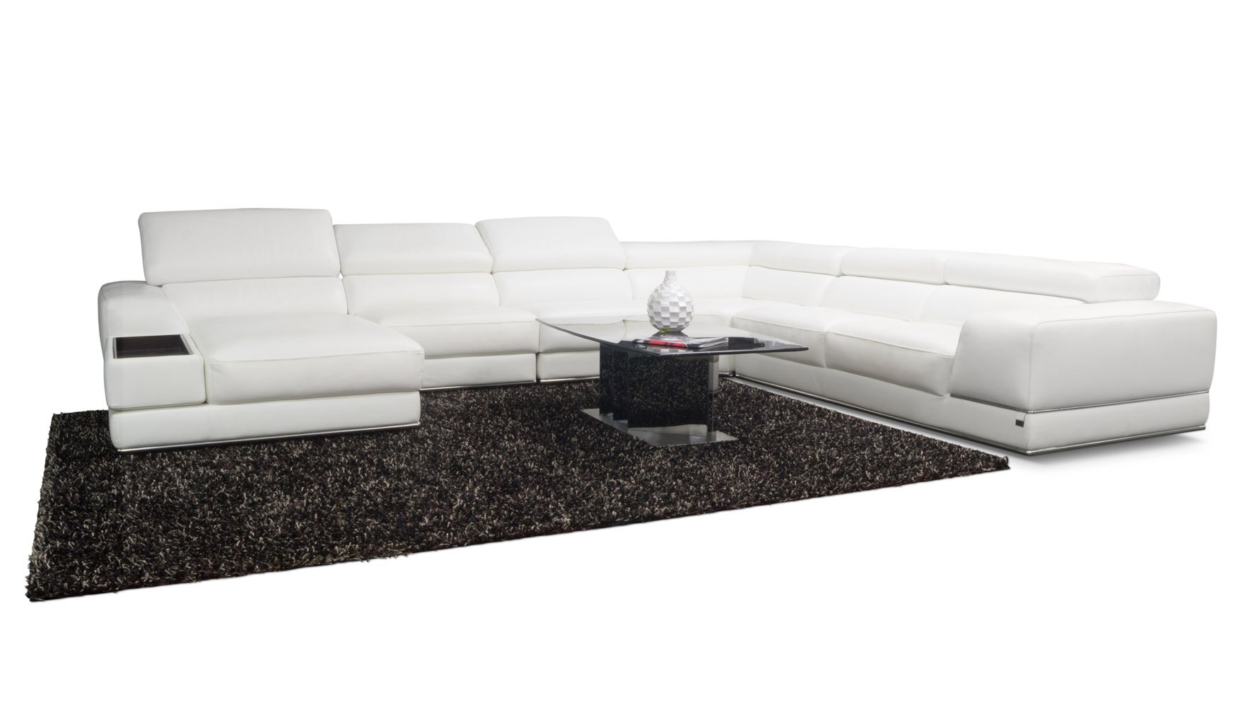 Wynn Leather Sectional Sofa With Adjustable Headrests Right Chaise