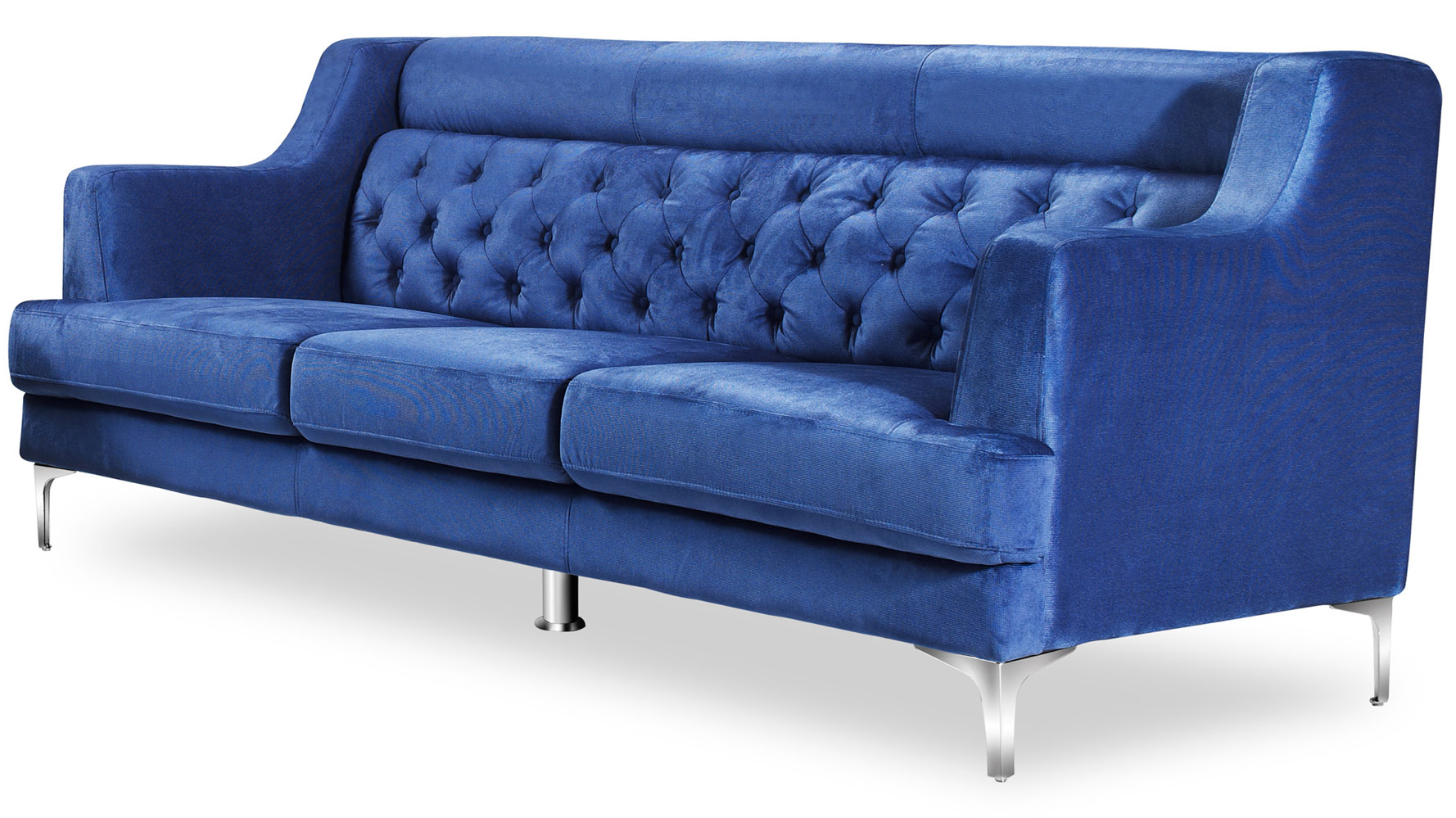 zara fabric tufted sofa with chrome legs navy blue zuri furniture. Black Bedroom Furniture Sets. Home Design Ideas