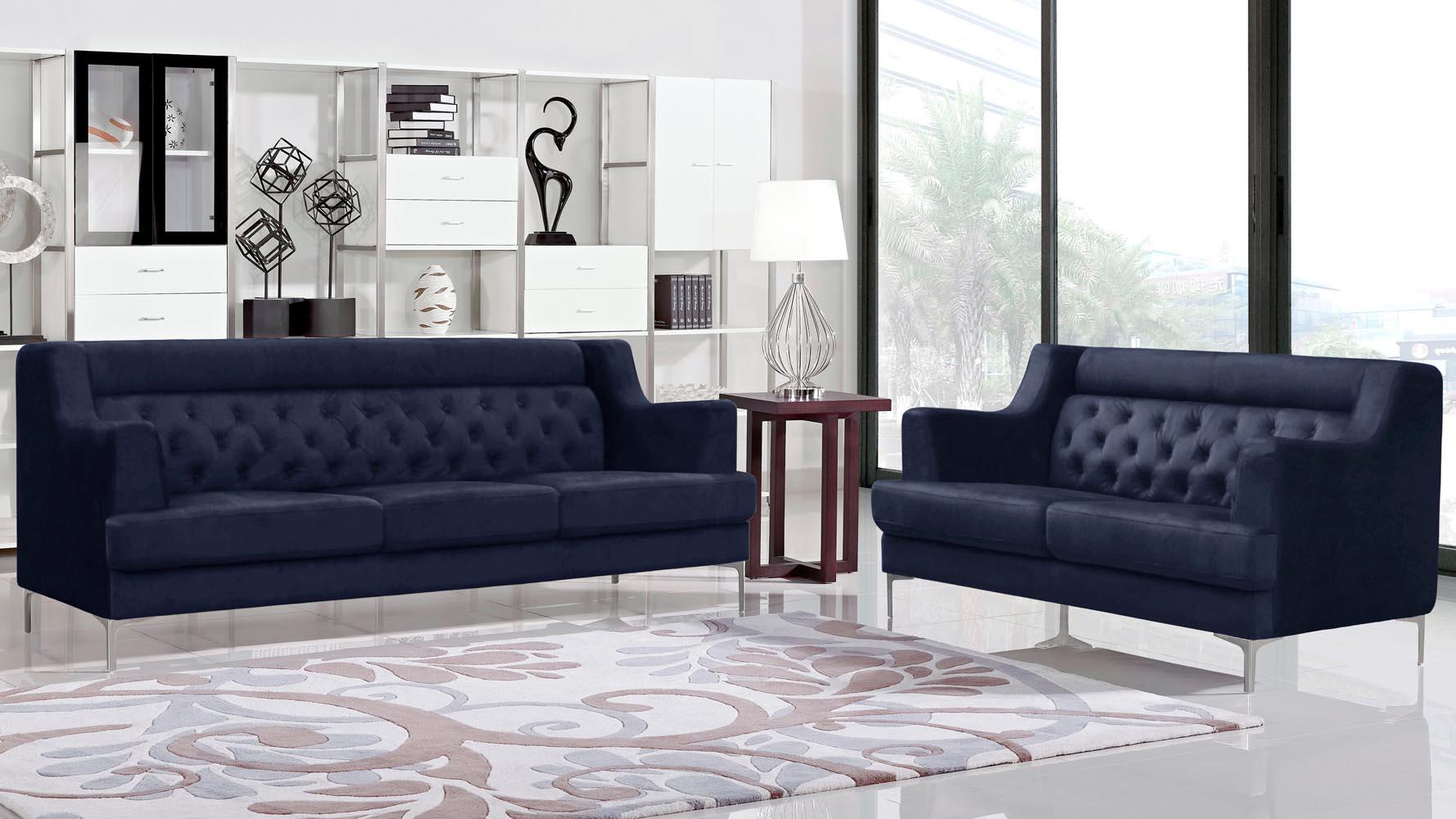 Finest Zara Fabric Tufted Sofa with Chrome Legs - Navy Blue | Zuri Furniture HM91