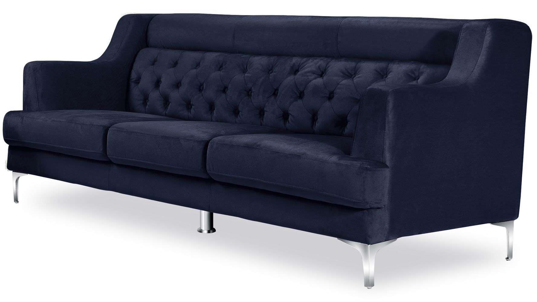 Zara Home Sofas zara fabric tufted sofa with chrome legs navy blue zuri furniture