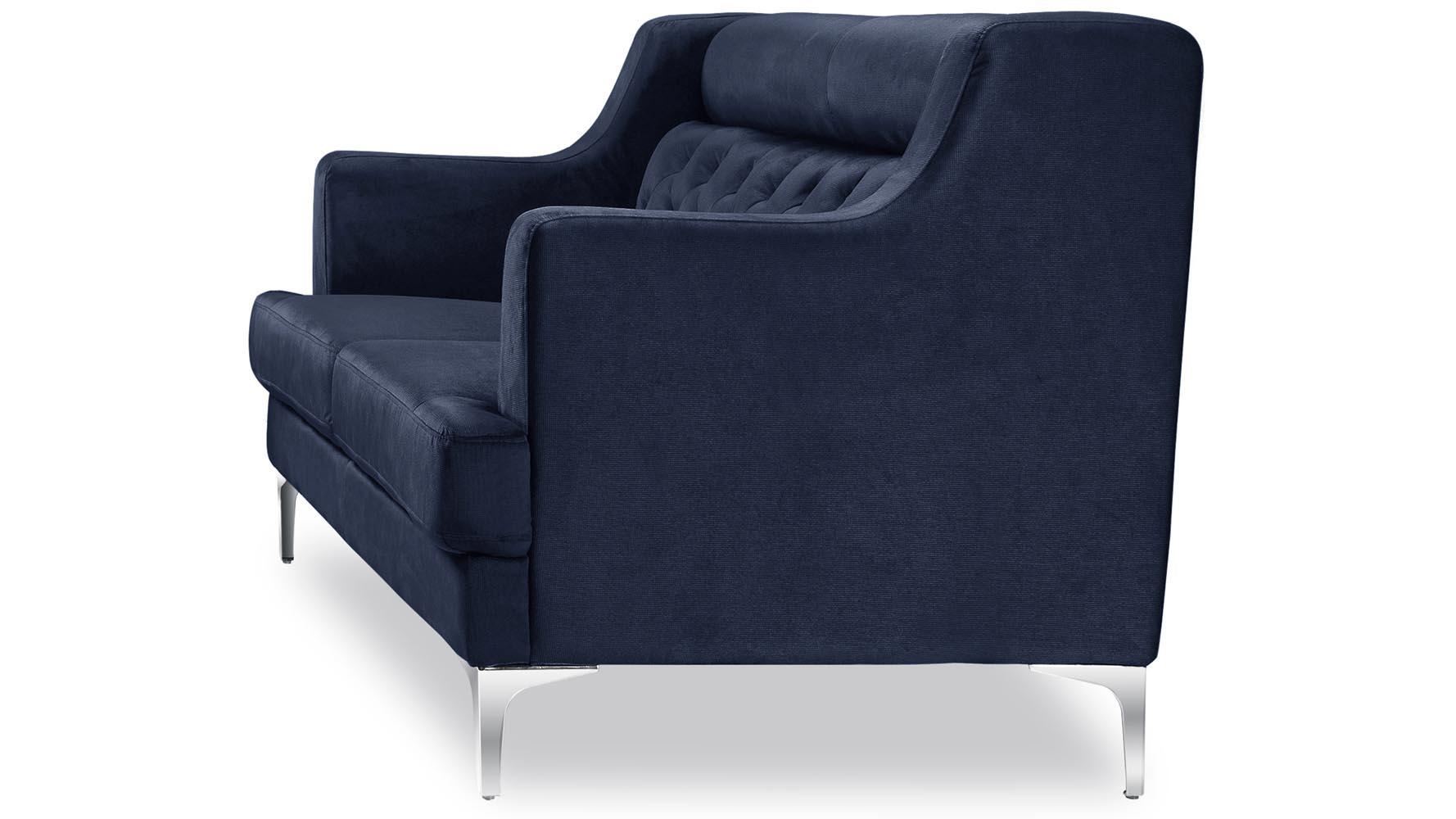 Zara Fabric Tufted Sofa With Chrome Legs Navy Blue