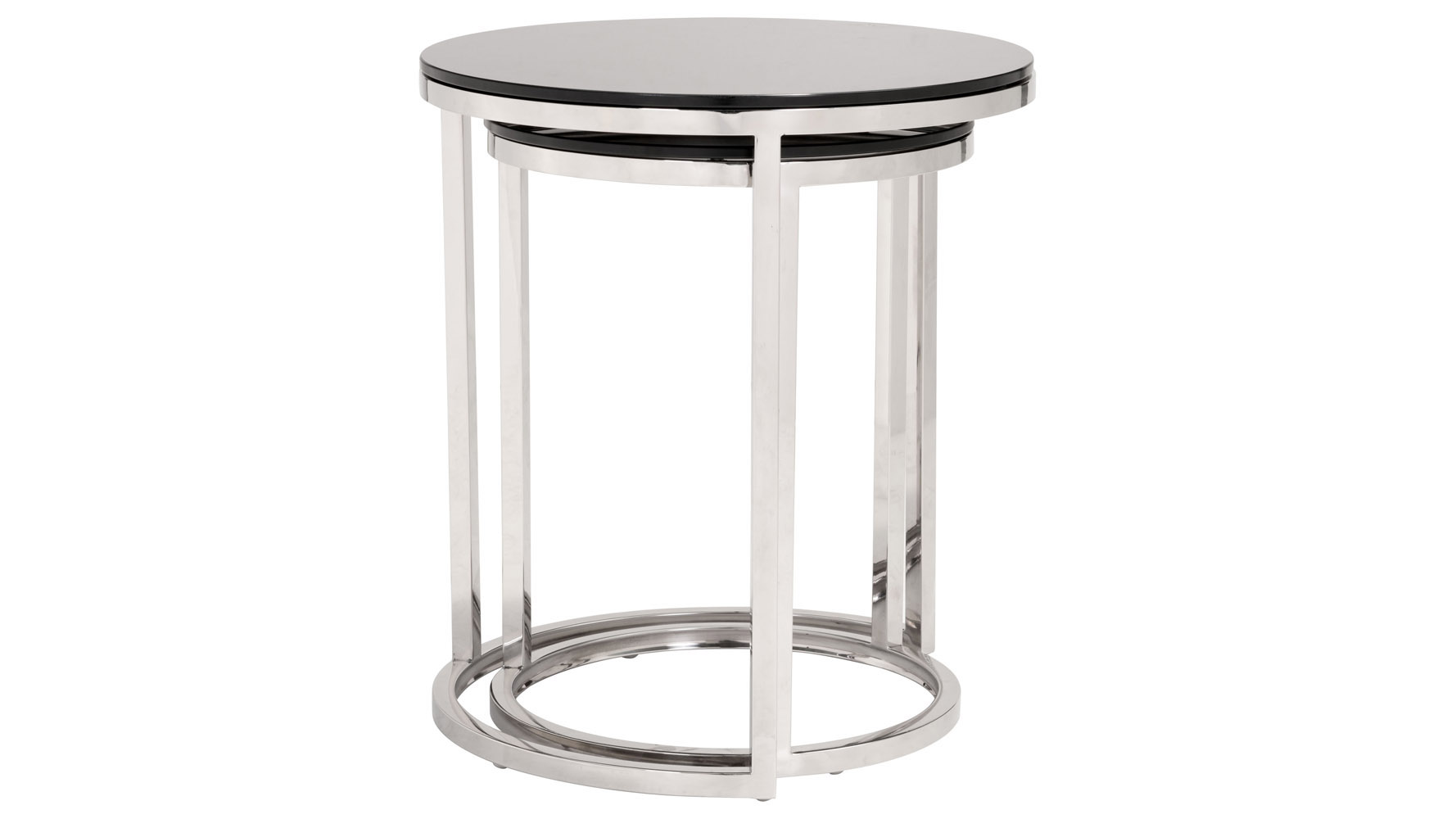 Black Glass Side Table: Zilarra Tempered Glass Side Table Set, Black & Stainless