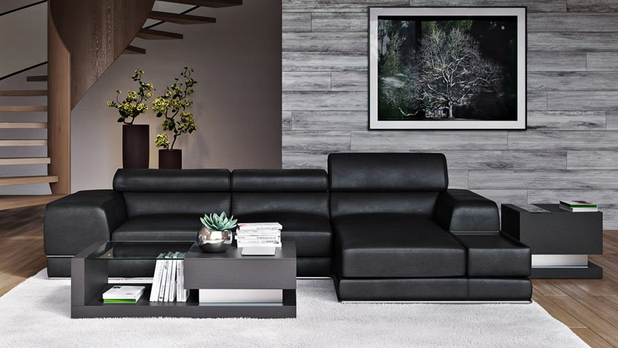 Encore Black Leather Sectional Sofa