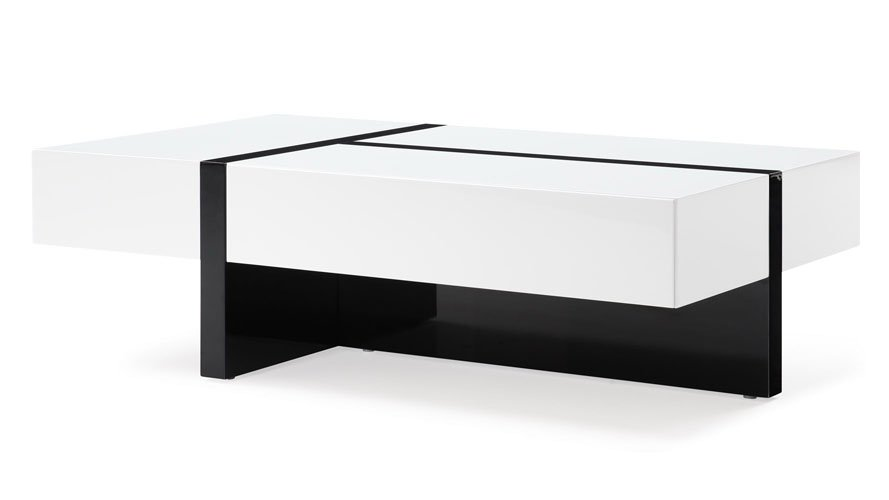 Mcintosh High Gloss Coffee Table With Storage White Black