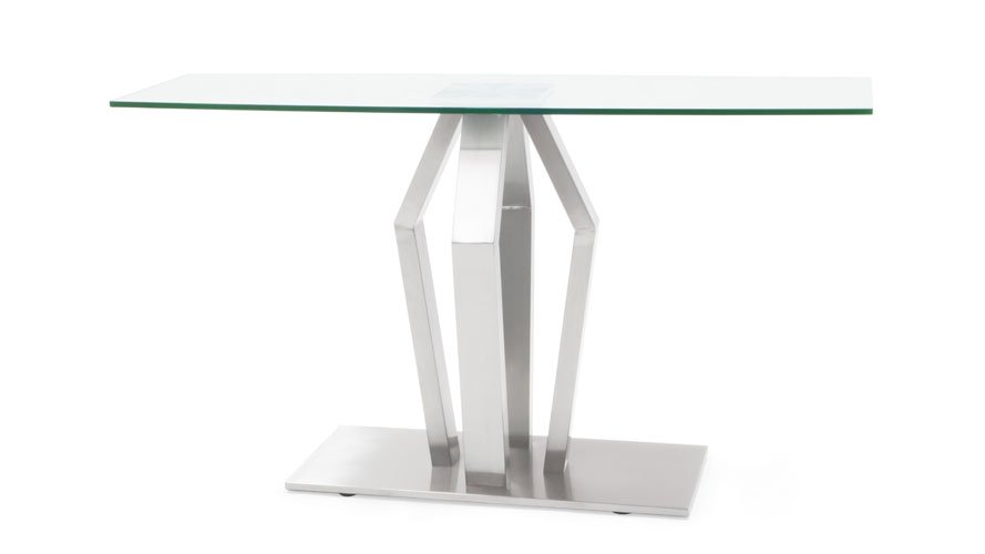 Tempered Glass And Brushed Stainless Steel Aiden Console