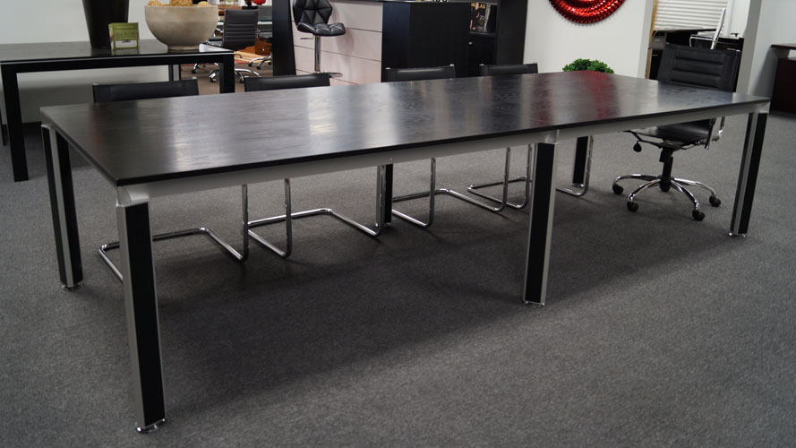 Andrew Black Oak Conference Table With Accented Chrome