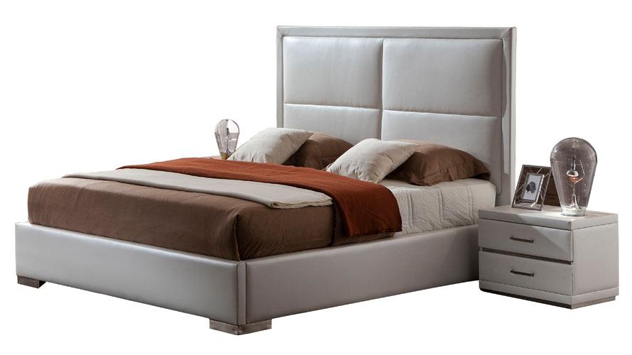 Aries White Leather Platform Bed Zuri Furniture