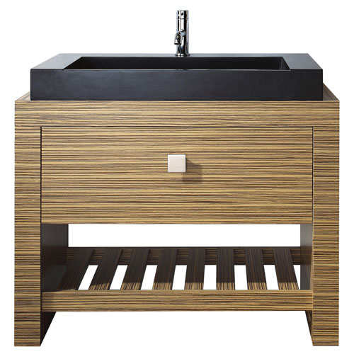 Knox Zebra Wood Veneer Vanity Set With Black Granite Vessel Sink Zuri Furniture