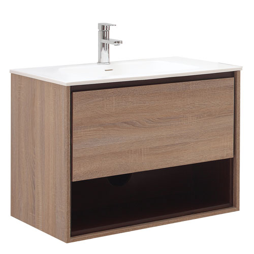 Sonoma Khaki Wood Bathroom Vanity Set With White Stone Top