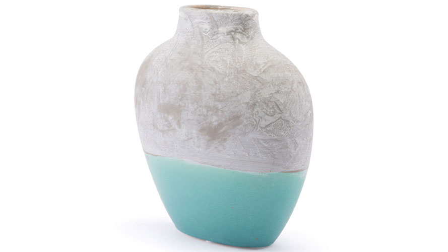 Azte Small Vase Gray Teal Zuri Furniture