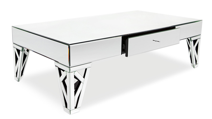 Azure Mirrored Gl Coffee Table Zuri Furniture