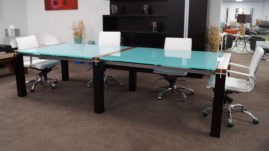 Barkley Blue Tempered Glass Rectangular Conference Table