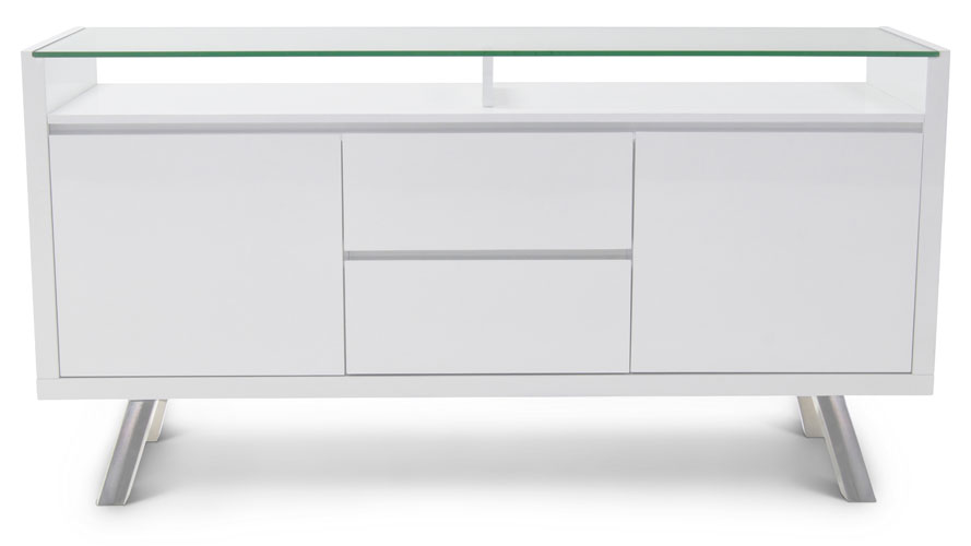 Blanco High Gloss Modern Buffet White Zuri Furniture