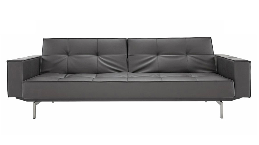 Brawn Stainless Steel Sofa With Arms In Black Zuri Furniture
