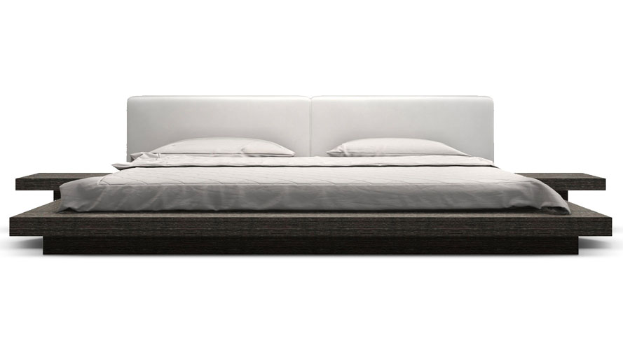 Brookline Wood and Leather Upholstery Bed   Zuri Furniture