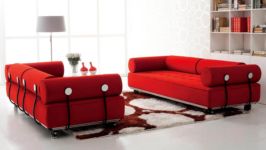 Carrera modern fabric sofa red zuri furniture for Modern red fabric sectional sofa
