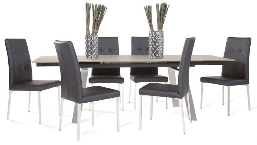 Charlotte Taupe Tempered Glass and Stainless Steel Dining Table ...