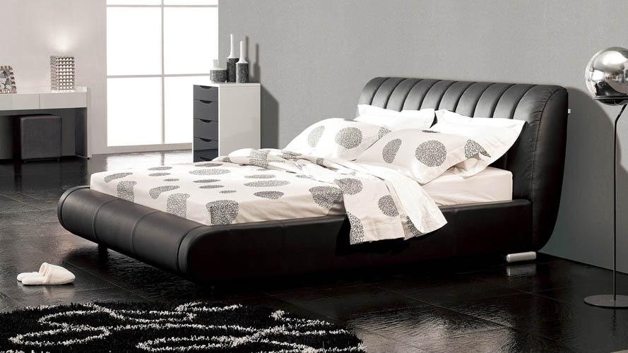 Dior Leather Contemporary Platform Bed Black Zuri