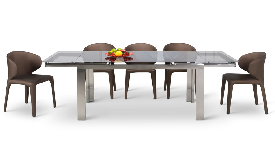Enzo Expandable Modern Dining Table With Glass Top Zuri