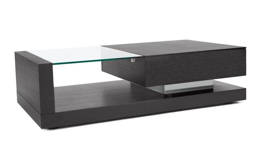 etta dark oak and tempered glass coffee table | zuri furniture