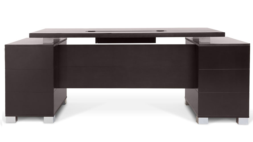 Ford Executive Modern Desk With Filing Cabinets Dark Wood Finish Zuri Furniture