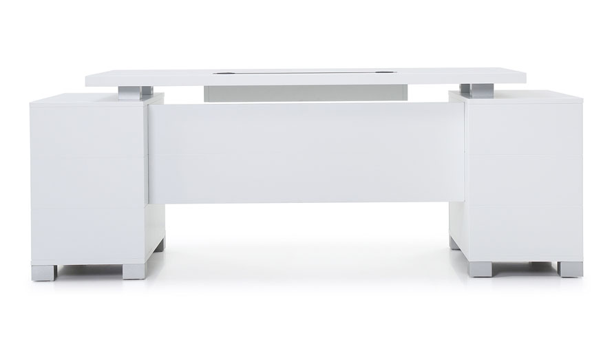 Ford Executive Modern Desk With Filing Cabinets White