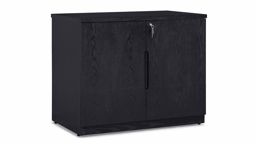Hayes Storage Cabinet Small Black Oak Finish Zuri Furniture