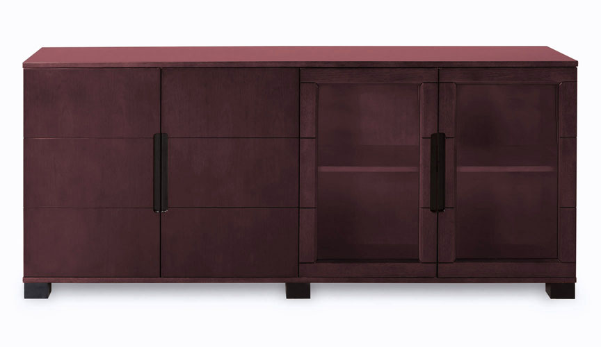 Hayes Modern Cabinet Mahogany With Glass Doors Zuri Furniture