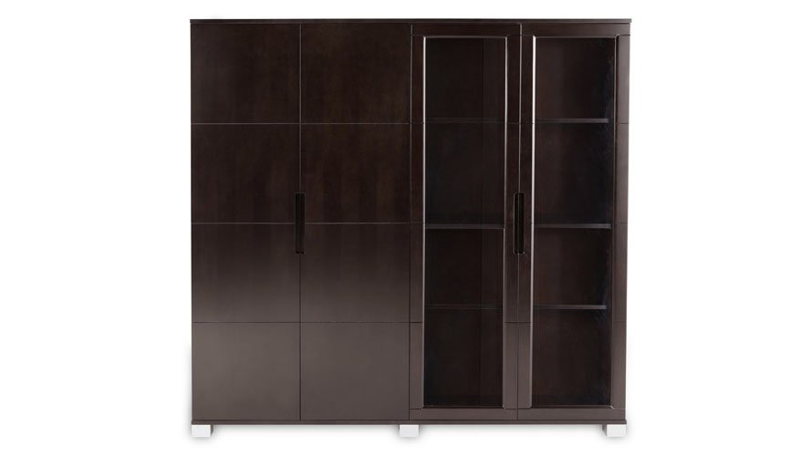 Hayes Modern Executive Wall Unit With Gl Doors And Shelving Zuri Furniture