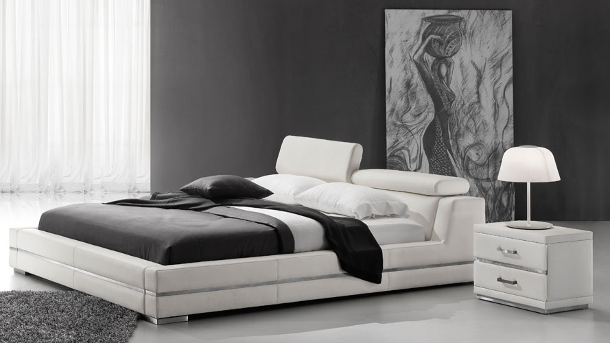 Hera White Leather Platform Bed