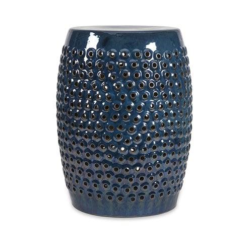 Indigo Cutwork Ceramic Garden Stool Zuri Furniture