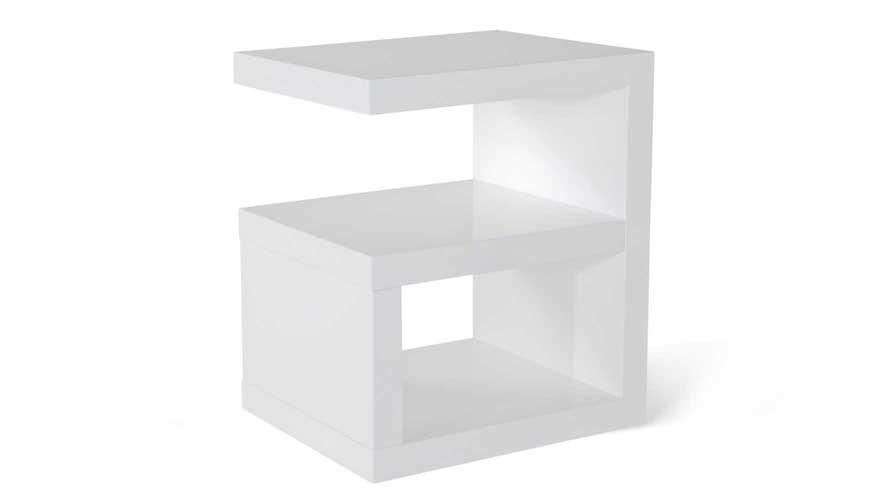 Jayden High Gloss Modern Side Table - White