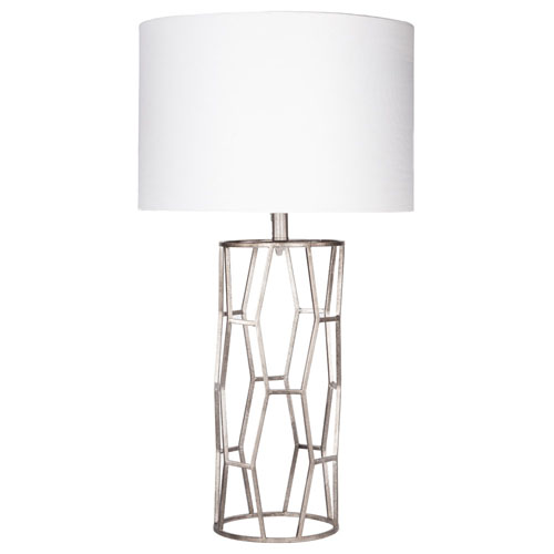 Kareli Metal Base And Linen Shade Table Lamp, Silver And White | Zuri  Furniture