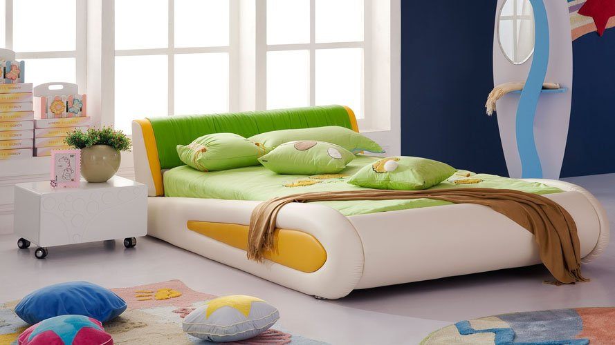 Green Leather Kermit Kids Frog Bed Zuri Furniture