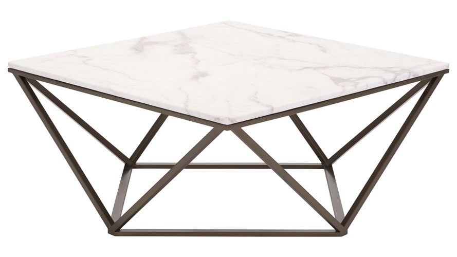 Wonderful Klee Faux Marble Coffee Table, Stone & Antique Brass | Zuri Furniture UP97