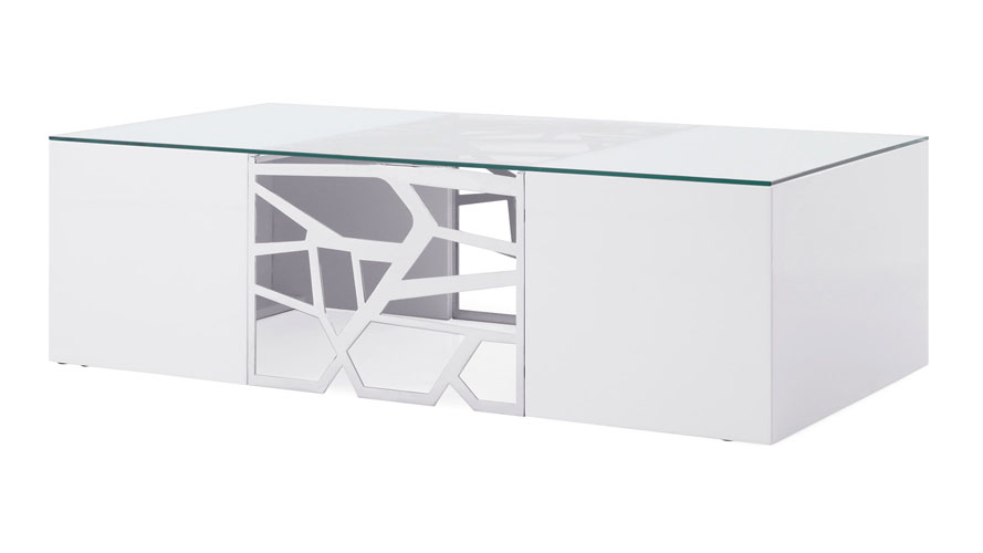 Liera Coffee Table In White High Gloss Lacquer And Stainless Steel | Zuri  Furniture