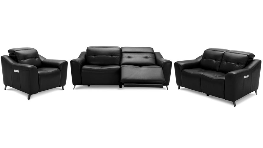 Black Linq Reclining Leather Sofa and Loveseat Set With Loveseat And ...