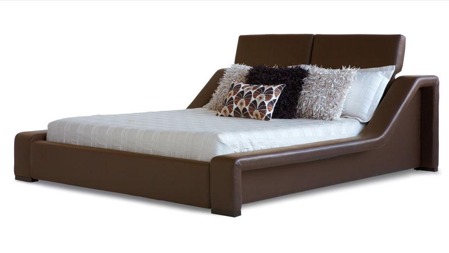 London Leather Contemporary Platform Bed - Brown  Zuri Furniture
