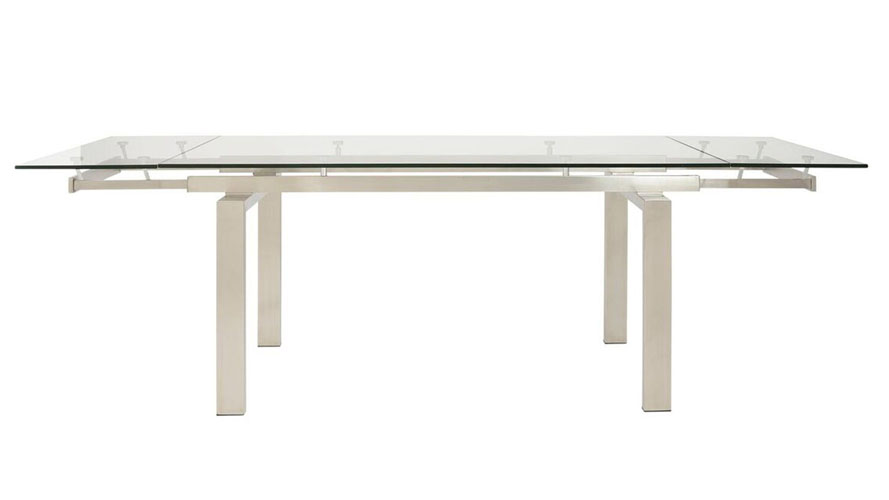 Luciana 94 Inch Glass And Stainless Steel Extension Table   Zuri Furniture