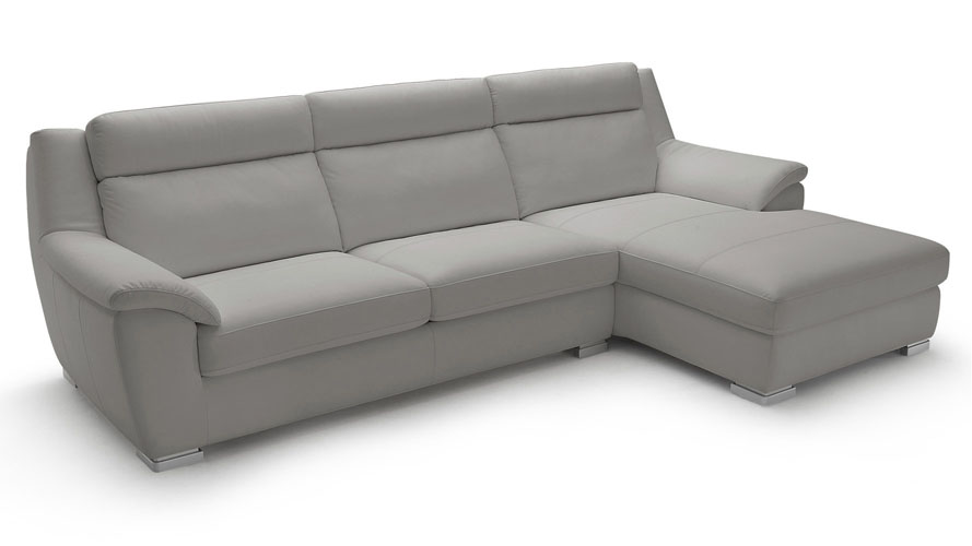 Manor Light Grey Top Grain Leather Sofa Sleeper Sectional With