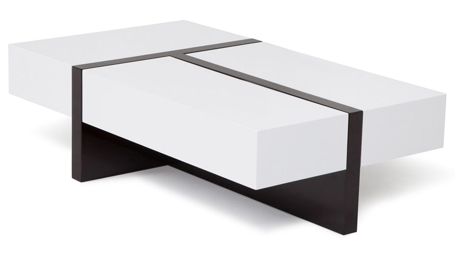 Mcintosh High Gloss Coffee Table With Storage White Rectangle Zuri Furniture