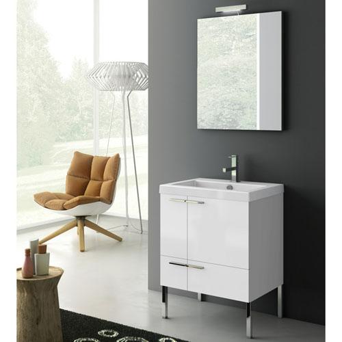 Modern 23 Inch Bathroom Vanity Set With Ceramic Sink Larch Canapa Zuri Furniture